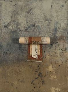Old Scroll, cold wax and oil paints with collage and scroll by Donna Watson