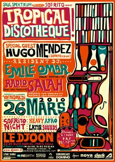 Lewis Heriz gig poster for an afro-latin Sofrito gig