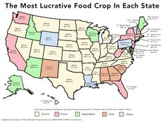 Most lucrative food crops in each state.  http://www.huffingtonpost.com/2015/01/16/largest-crop-each-state_n_6488930.html