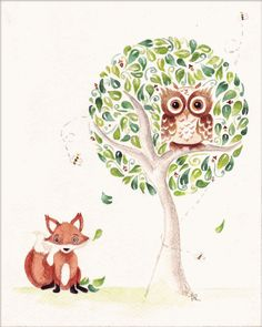 Owl and Fox Illustration by HomemadeHeartland on Etsy, $35.00
