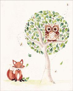 Owl and Fox Illustration