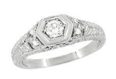 Filigree Engraved Art Deco Diamond Engagement Ring in 18 Karat White Gold $1,495.00 http://www.antiquejewelrymall.com/r646.html