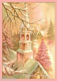 Fabric-Block-Chic-Shabby-Pink-Church-Christmas-Postcard-Pink-Christmas-Tree