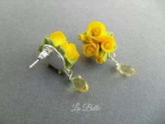 me ~ Yellow earring miniature yellow rose polymer clay Polymer clay earring Clay earring Polymer Clay jewelry Roses earrings Fimo Yellow flower Yellow Earrings, Rose Earrings, Stud Earrings, Polymer Clay Flowers, Polymer Clay Crafts, Metal Clay Jewelry, Polymer Clay Necklace, Biscuit, Creations