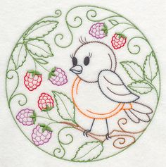 Embroidery: animals and flowers - birds - robin and dewberries
