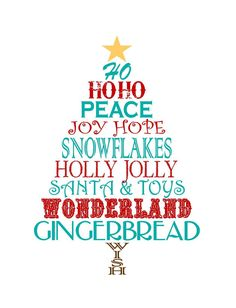 Just devine Style: Free Christmas Word Tree Printable-turquoise