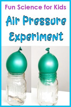 Demonstrating air pressure with a balloon and a jar science activity for kids. Check out this easy Balloon Air Pressure Experiment for Kids! This science activity is perfect for an air pressure science fair project. Kid Experiments At Home, Air Pressure Experiments, Easy Science Experiments, Science Fair Projects, Science Lessons, Kindergarten Science Experiments, Science Crafts, Science Activities For Kids, Weather Activities