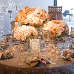 Champagne and pale pink rose centerpieces #spring #wedding #decor