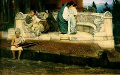 Learn more about An Exedra Sir Lawrence Alma-Tadema - oil artwork, painted by one of the most celebrated masters in the history of art. Lawrence Alma Tadema, Academic Art, Dutch Painters, Pre Raphaelite, Victorian Art, Art Database, Oil Painting Reproductions, Romanticism, Ancient Art
