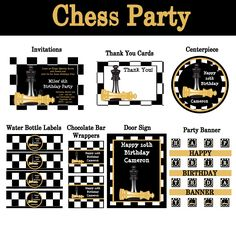 Chess Birthday Party Invitations and Party Decorations #chess