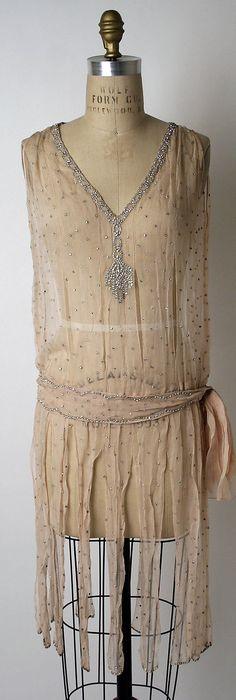 Evening Dress, (attributed) Edward Molyneux (French, born Britain, 1891–1974): 1925-1927, French, silk rhinestones.