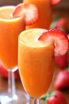 Strawberry Mango Mimosas For mornings when your fruit smoothie needs more of a kick, opt for this delightful strawberry mango mimosa. You can also make non-alcoholic ones with Sprite!  Get the recipe at Happy Go Lucky.