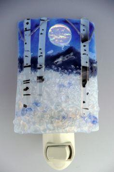 Winter Mountain Aspen Night Light fused glass by wildideasglass