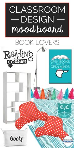 Make your classroom design all about reading and books! Check out this classroom mood board filled with ideas for a book-themed classroom! Classroom Design, Classroom Themes, Classroom Resources, Teaching Resources, Teaching Ideas, Middle School Ela, Middle School Classroom, Science Experiments Kids, Science For Kids