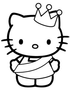 Beautiful Princess Hello Kitty Coloring Pages