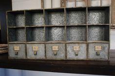 Wonderful vintage zinc storage unit.