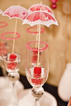 Have fun with your #bridalshower! How sweet are these cocktail umbrellas?!