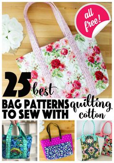 bag sewing patterns Sew the cutest bags with your favorite fabric - quilting cotton! I love sewing bags with quilting cotton - I get to use prints from all of my favorite designers. Bag Patterns To Sew, Tote Pattern, Sewing Patterns Free, Free Sewing, Cross Body Bag Pattern Free, Handbag Patterns, Quilt Patterns, Sewing Projects For Beginners, Sewing Tutorials