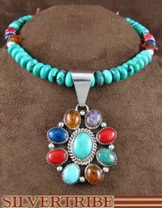 Navajo Indian Jewelry Sterling Silver Multicolor Necklace And Pendant Set AS31956