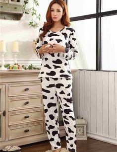 أزياء النساء بيما منامة كم كامل النساء منامة مجموعات حليب البقر المطبوعة السراويل النساء النوم النوم الطويل mlxl