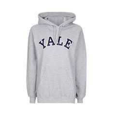 Yale Hoodie by Tee & Cake (595 ZAR) ❤ liked on Polyvore featuring tops, hoodies, grey, hoodie top, gray hoodies, hooded pullover, sweatshirt hoodies and topshop tops