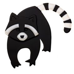 Limited edition, original Erstwilder Randy Racoon brooch in black. Designed by Louisa Camille Melbourne. Funky Jewelry, Plastic Jewelry, Resin Jewelry, Quirky Gifts, Racoon, Polymer Clay Projects, Animal Jewelry, Plexus Products, Mammals