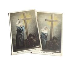 2 Vintage Religious Postcards . Nun Praying by a Cross by Majilly