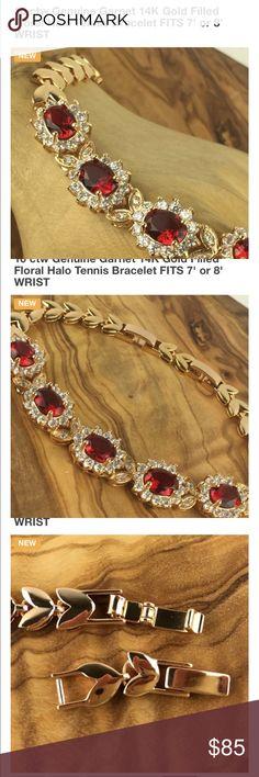 Beautiful genuine garnet tennis bracelet Beautiful genuine garnet tennis bracelet.  Will be available for shipping January 12th Jewelry Bracelets
