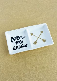 *Follow Your Arrow* Customized Double Jewelry Dish// Ceramic Ring Holder ($10.00)