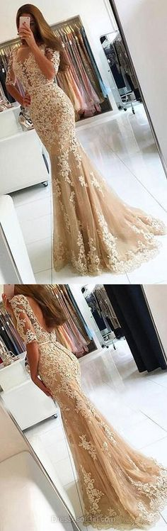 Elegant Trumpet/Mermaid Scoop Neck Tulle Sweep Train Appliques Lace 1/2 Sleeve Backless Prom Dresses
