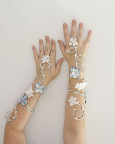 Bridal fairy arm cuffs can be ordered in custom colors on my Etsy site: https://www.etsy.com/shop/Frecklesfairychest