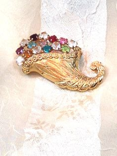Vintage Crystal Cornucopia Brooch c. 1940s by NorthCoastCottage, $29.00