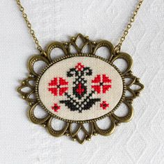 Cross stitch necklace with Ukrainian embroidery