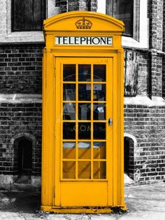 'Red Phone Booth in London painted Yellow - City of London - UK - England - United Kingdom - Europe' Photographic Print - Philippe Hugonnard | AllPosters.com
