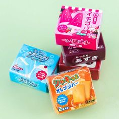 Boxed Popsicle Duo Scented Erasers Frozen Popsicles, Buy Boxes, Gumball Machine, Kawaii Shop, Welcome Gifts, Ice Pops, Decorative Boxes, Ice Cream, Candy