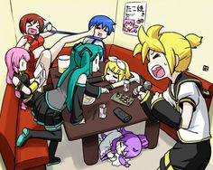 Meiko Sakine, Kaito Shion, Luka Megurine, Hatsune Miku, Kamui Gakupo, and Rin and Len Kagamine. (Vocaloids).