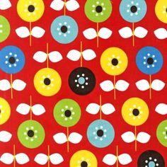 Cool Cords Red Flowers and Stems by Ann Kelle for Robert Kaufman Fabrics