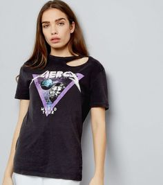 Black Fierce Space Print Studded Short Sleeve T-Shirt  | New Look