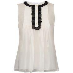 Diane Von Furstenberg Betsy blouse ($140) ❤ liked on Polyvore featuring tops, blouses, shirts, blusas, tank tops, white, white tuxedo, ruffled tuxedo shirt, white ruffle shirt and shirt blouse