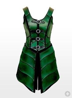"No matter how many times i repeat ""Imma NOT looking for battle gear this year"" I keep coming bak to the sweet jeebus it-comes-in-green! variation of the black leather-goods dress I re-pinned earlier, downstream. Female Elven Warrior Leather Armour green from Maskworld - great way to recycle the new pieces I assemble this year, in later rennaissance faire seasons. You betcha! Cuz every truly GREAT garb get-up, can be turned into a kick ass fairy eventually."