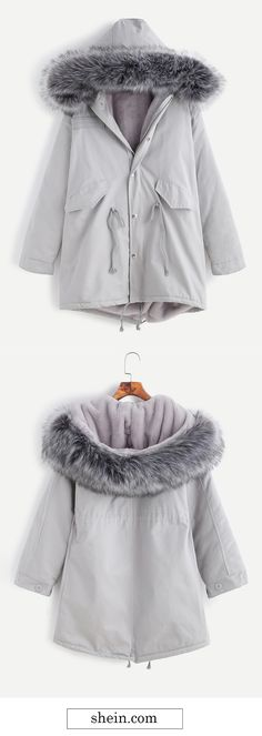 Grey faux fur drawstring fleece inside hooded coat. More coat with 40% off at shein.com.