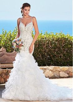 Charming Organza Spaghetti Straps Neckline Mermaid Wedding Dresses With Embroidered Beadings