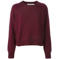 ニット・セーター T BY ALEXANDER WANG GARNET CASHMERE-WOOL BLEND RIBBED CREW... ❤ liked on Polyvore featuring tops, sweaters, shirts, jumpers, wool blend sweaters, cashmere sweater, red sweater, red cashmere sweater and burgundy top