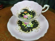 Paragon Fancy Tea Cup and Saucer Pink Bright H P Floral on Black Gold Trimmed | eBay