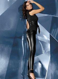 Leggings femme sexy noir simili cuir slim pantalon moulant BAS BLEU vanessa