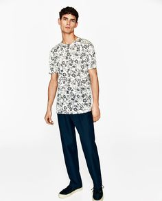 Image 1 of FLORAL LINEN T-SHIRT from Zara