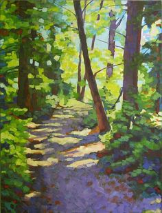 Path To The Lake Painting by Mary McInnis - Path To The Lake Fine Art Prints and Posters for Sale Watercolor Trees, Watercolor Landscape, Landscape Art, Landscape Paintings, Landscapes To Paint, Paintings Of Trees, Lake Painting, Forest Painting, Forest Art