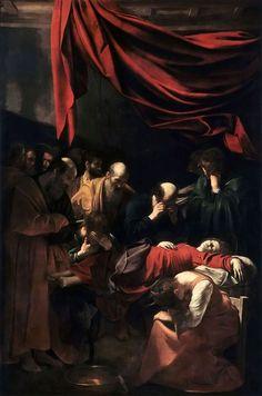 Caravaggio - Death of the Virgin 1606 Lo que más me impacta de Caravaggio es la forma de entender la humanidad frente a la divinidad de Dios. En todas las obras que realizó hay sentimientos y personas reales. No se esconde el trasfondo de las personas y los sentimientos se realzan (rabia, dolor, tristeza); tratando de que el espectador se sienta identificado. Su obra no se trato de pintar la divinidad sino de la lucha que tenia hasta el mismo dentro de si: entre lo bueno y lo malo.