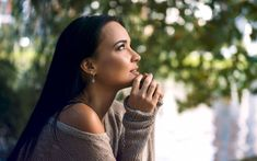 Download wallpapers Angelina Petrova, Russian fashion model, brunette, beautiful young woman, portrait