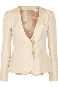 Valentino Ruffle-trimmed silk-twill jacket
